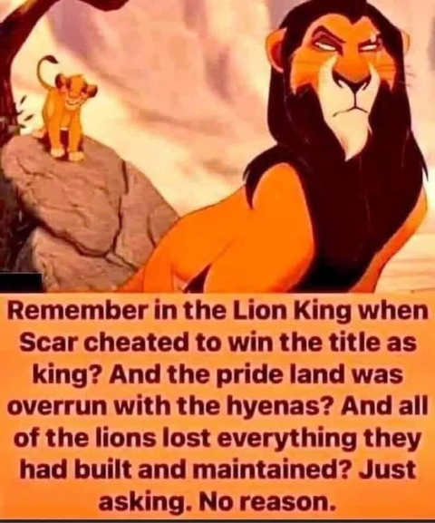 remember lion king scar cheated pride land hyenas lost everything