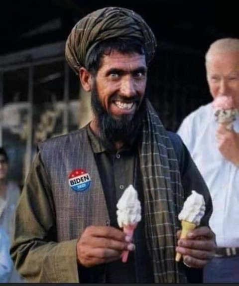 taliban eating ice cream biden