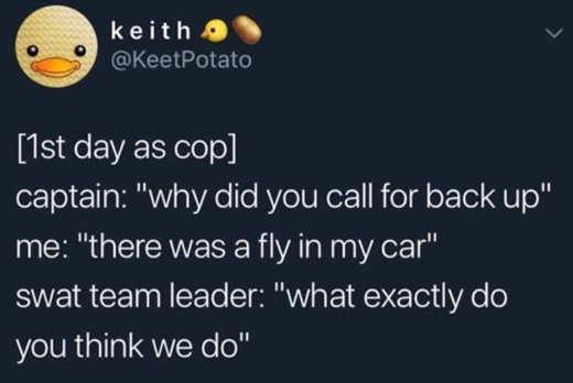 tweet first day as cop fly in car swat team leader