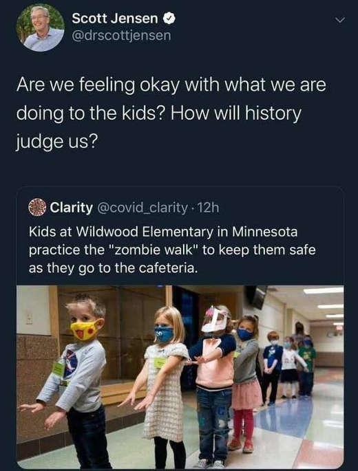 tweet jensen clarity kids zombie walk masks how will history judge