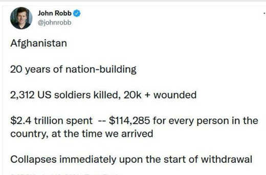 tweet john robb afghanistan 20 years nation building trillions spent soldiers killed collapses immediately