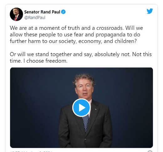 tweet rand paul video calling for covid resistance