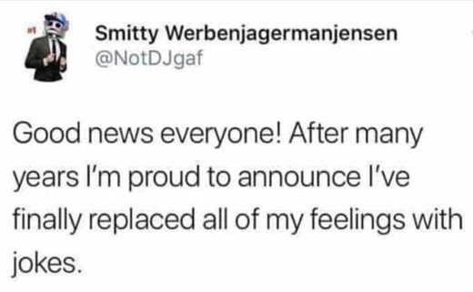tweet smitty good news replaced feelings with jokes