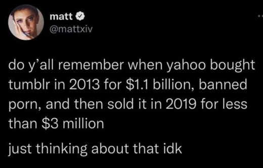 tweet tumblr yahoo bought billions sold millions ban porn