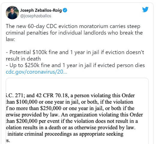tweet zeballos roig cdc eviction moratorium