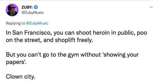 tweet zuby san francisco clown city gym show papers heroin poo shoplift