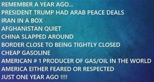 1 year ago trump President China border gas Iran peace deals