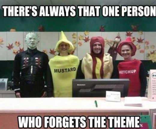 always one friend forgets halloween costume theme ketchup mustard hellraiser