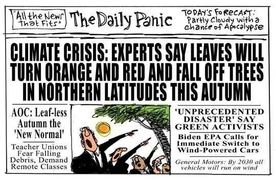 daily panic climate change experts leaves fall in autumn teachers unions falling debris