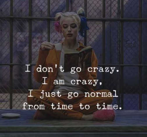 dont go crazy am just go normal from time to time harley quinn