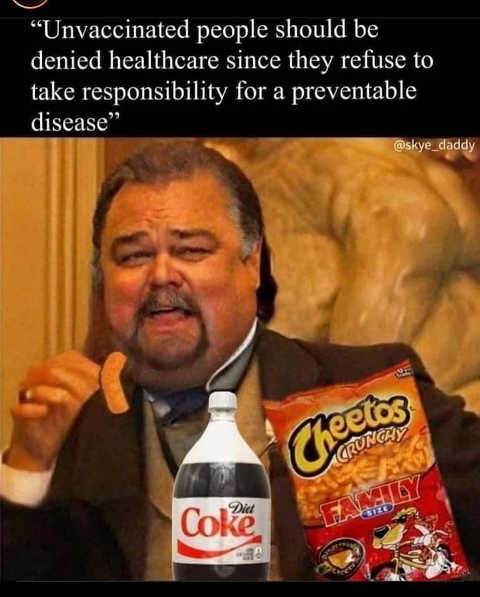 dont treat unvaccinated preventable disease cheetos soda