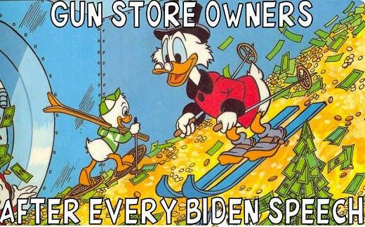 gun store owners every biden speech ducks skiing cash gold