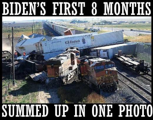 joe biden first 8 months summed one photo train wreck