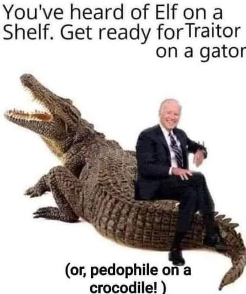 joe biden traitor on a gator crocodile
