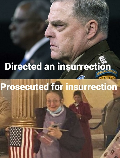 milley directed insurrection old lady procecuted for one