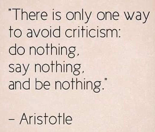 quote aristotle only way avoid criticism do say be nothing