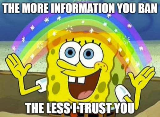 sponge bob more information you ban less i trust you