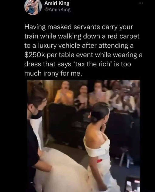 tweet aoc king masked servants carry train 250k table tax rich irony