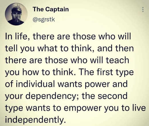 tweet captain those how what to think dependency live independently