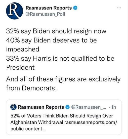 tweet rasmussen reports poll biden harris resign