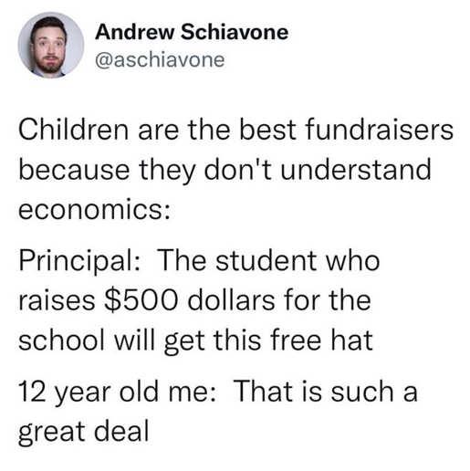 tweet schlavone children fundraisers economics 500 hat