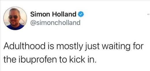 tweet simon holland adulthood waiting for ibuprofen to kick in