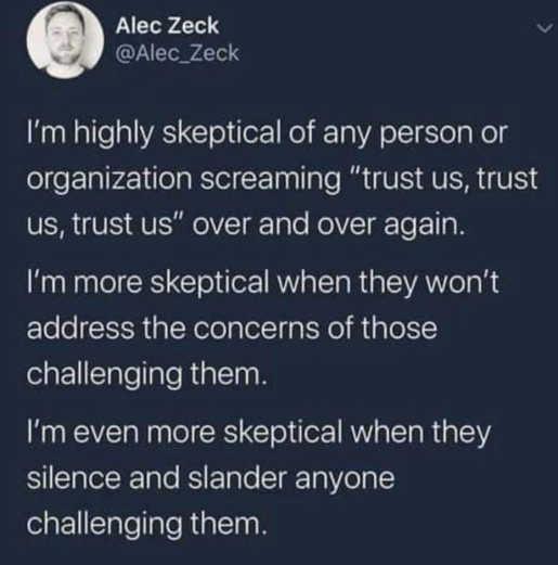 tweet zick highly skeptical trust us wont address concerns silence slander anyone challenging