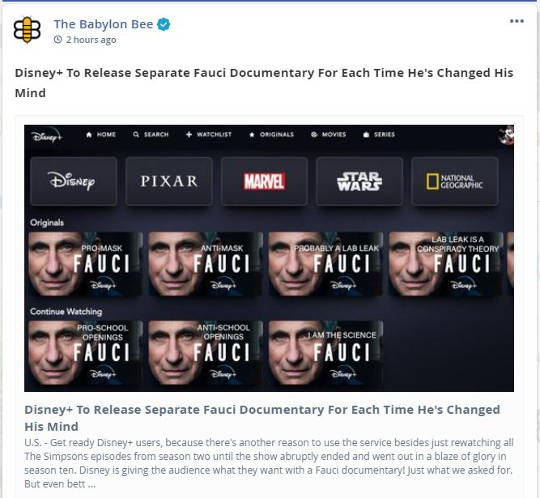 babylon bee disney+ release separate fauci documentary for every time changed mind