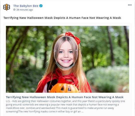babylon bee terrifying new halloween mask human face not wearing mask