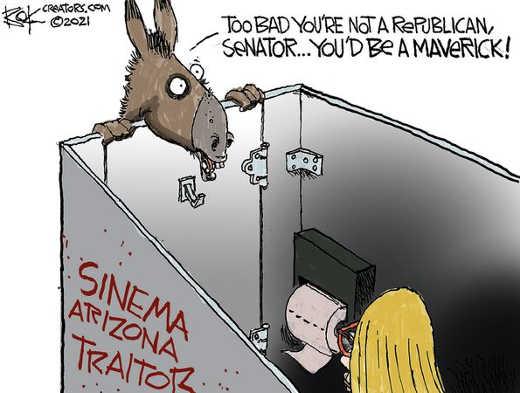 democrats bathroom sinema republican maverick traitor