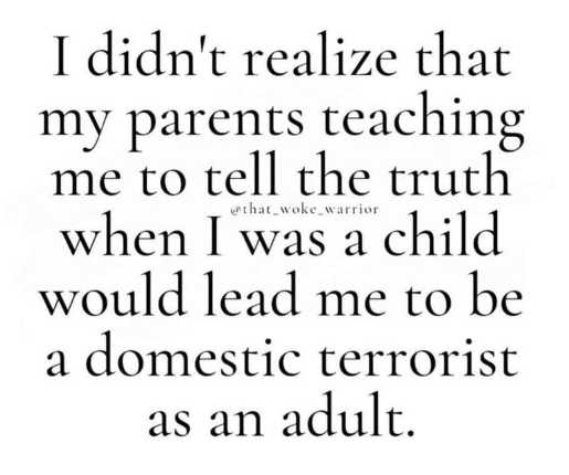 didnt realize parents teaching tell truth lead domestic terrorist as adult