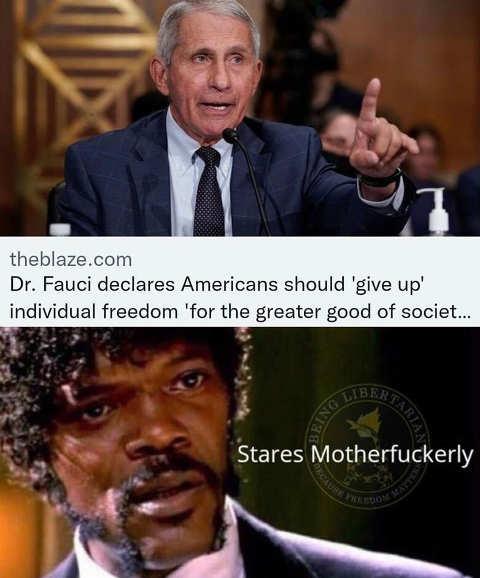 fauci americans should give us individual freedom samual jackson pulp fiction