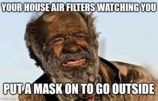 house air filters watching you put mask on to go outside