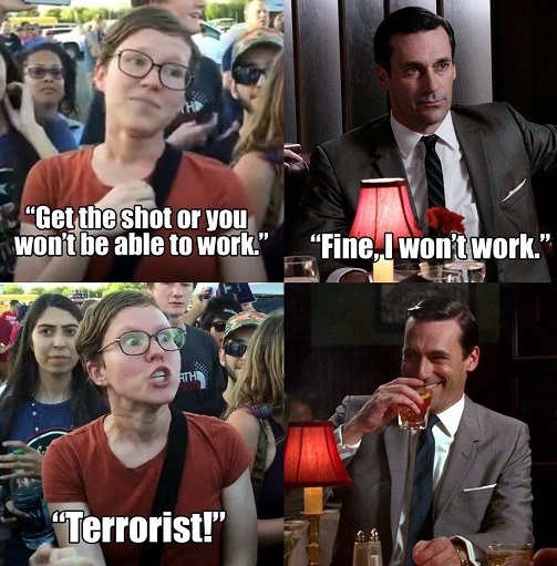 liberal get the shot wont be able to work fine terrorist