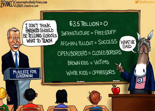 mcauliffe government parents telling kids what to teach trillions equals 0 infrastructure free stuff teacher democrats