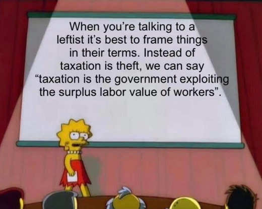 message talking lisa simpson leftist taxation government exploiting labor value workers