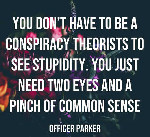 quote officer parker dont have to be conspiracy theorist see stupidity two eyes pinch common sense