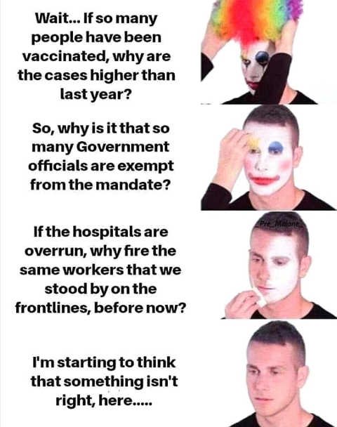 reverse clown vaccinated hospitals overrun nurses fired