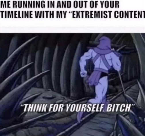 skeltor me running in timeline extremist content think for yourself bitch