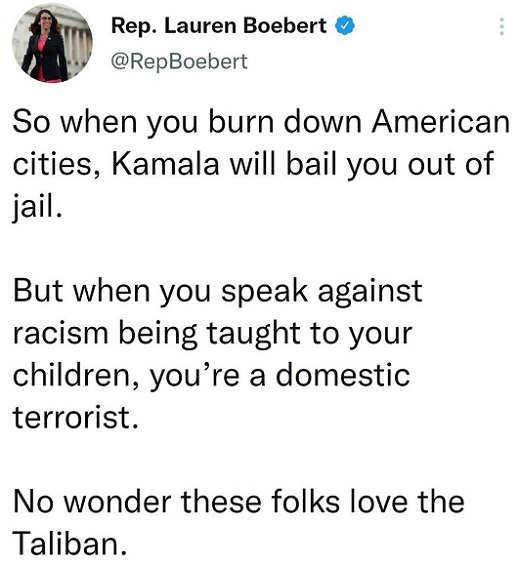 tweet laruen boebert burn down cities kamala bail out speak against racist teaching domestic terrorist