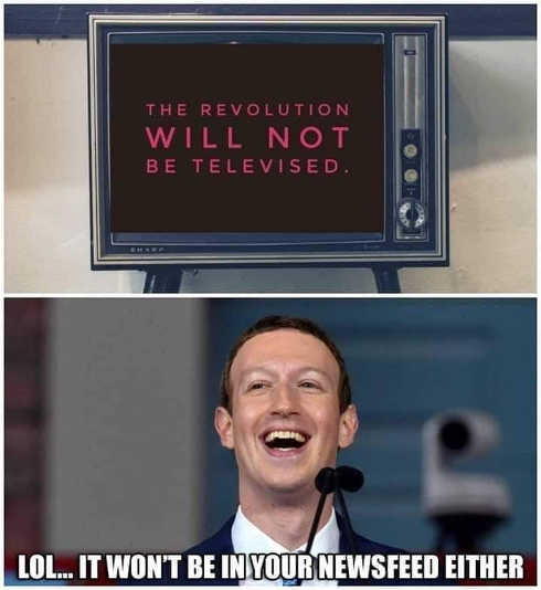 zuckerberg revolution wont be televised not in newsfeed either