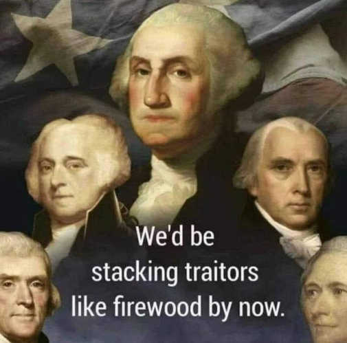 washington jefferson wed be stacking traitors like firewood by now