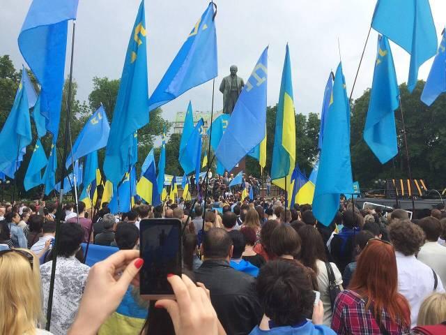 Rally in Taras Shevchenko Park in Kiev (Ukraine), remembering the deportation of Crimean Tatars.