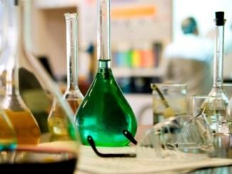 Various beakers in science laboratory.