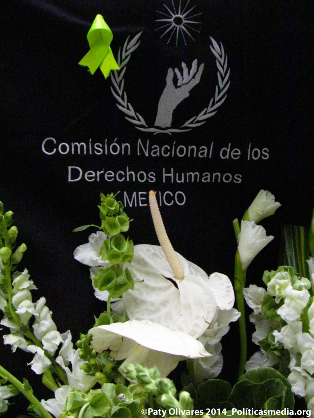 """Distintivo verde limón, por el Día Mundial de las Personas con Talla Baja (25 de octubre) en el Coloquio: """"Mecanismos de Aplicación y Seguimiento de la Convención sobre los Derechos de las Personas con Discapacidad"""", en la CNDH."""
