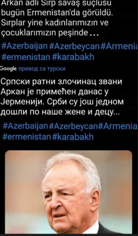 TURCI TVRDE DA JE OVO FOTOGRAFIJA ARKANA IZ 2020. GODINE: Viđen je u Jermeniji