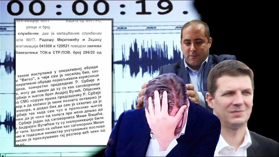 Detalji službene beleške o prisluškivanju Vučića starijeg, Vučića mlađeg i Vacića