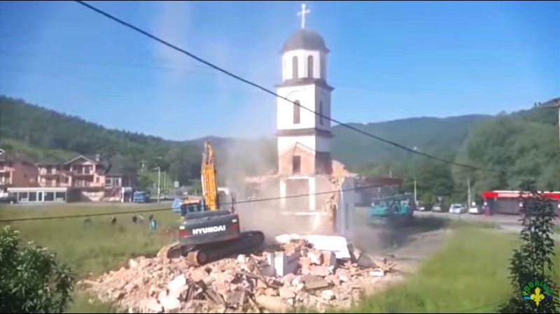 Srušena crkva u dvorištu Fate Orlović u Republici Srpskoj (VIDEO)