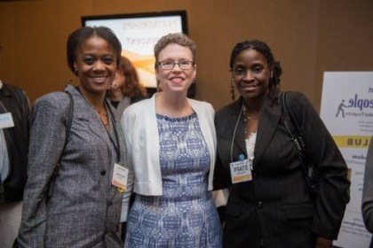 Natesha Oliver (r) with Cathy Stewart and Politics for the People member, Cheryl White (l)