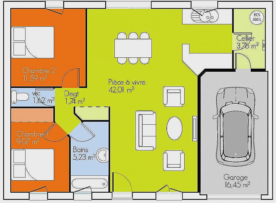Plan Maison 80m2 2 Chambres Luxe 70m2 Plein Pied Beau Politify Us